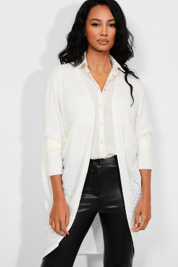 White Ruched Texture Open Front Cardigan
