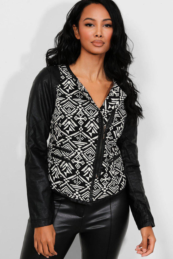 Vegan Leather Monochrome Jacquard Jacket