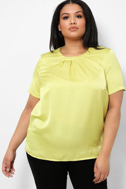 Lime Pleated Detail Satin Touch Top - SinglePrice