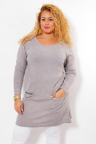 Thin Knit Grey Pocketed Jumper Dress-SinglePrice