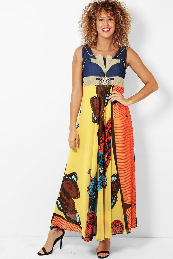 Yellow Butterflies Printed Maxi Dress With Bolero Jacket-SinglePrice