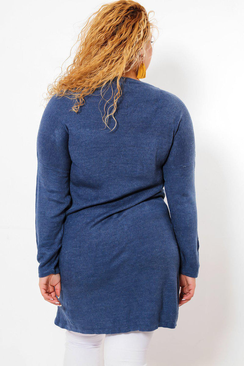 Thin Knit Blue Pocketed Jumper Dress - SinglePrice