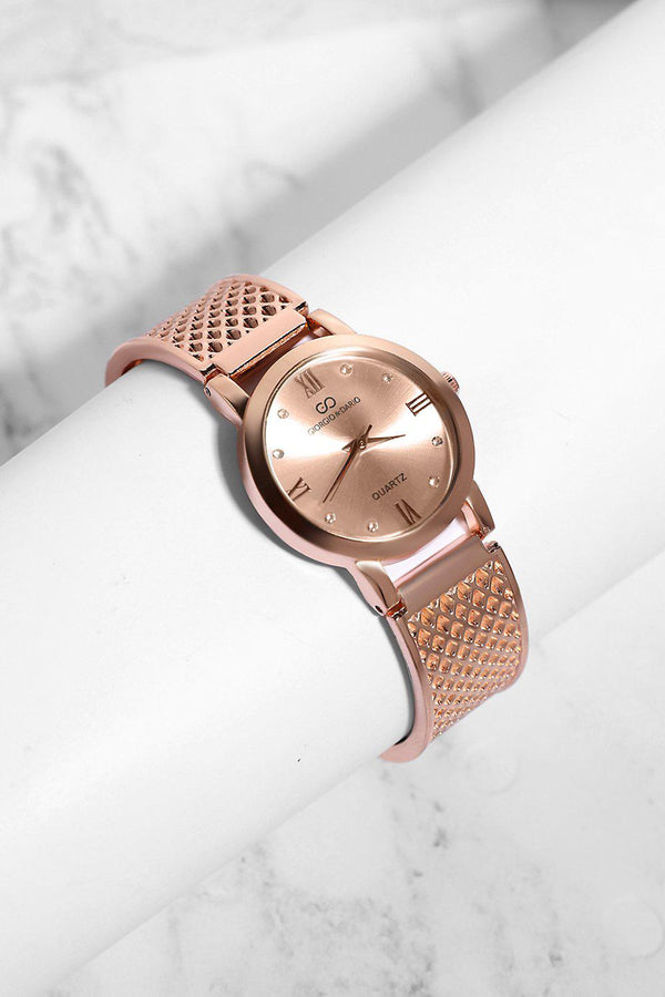 Rose Gold Diamond Details Rose Dial Perforated Strap Watch-SinglePrice