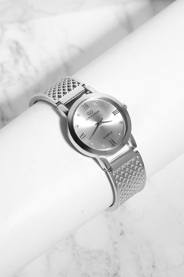 Silver Diamond Details Silver Dial Perforated Strap Watch-SinglePrice