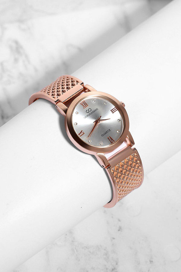 Rose Gold Diamond Details White Dial Perforated Strap Watch-SinglePrice