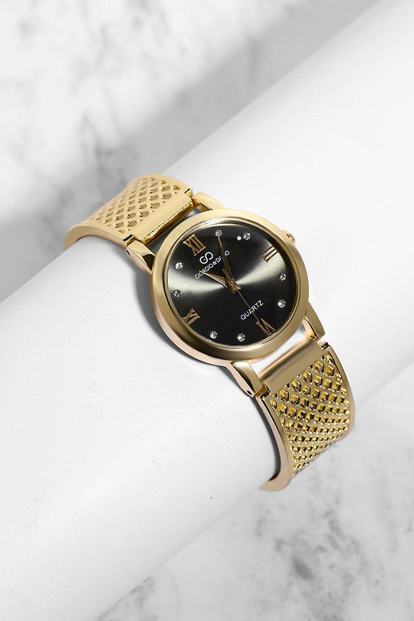 Gold Diamond Details Black Dial Perforated Strap Watch-SinglePrice