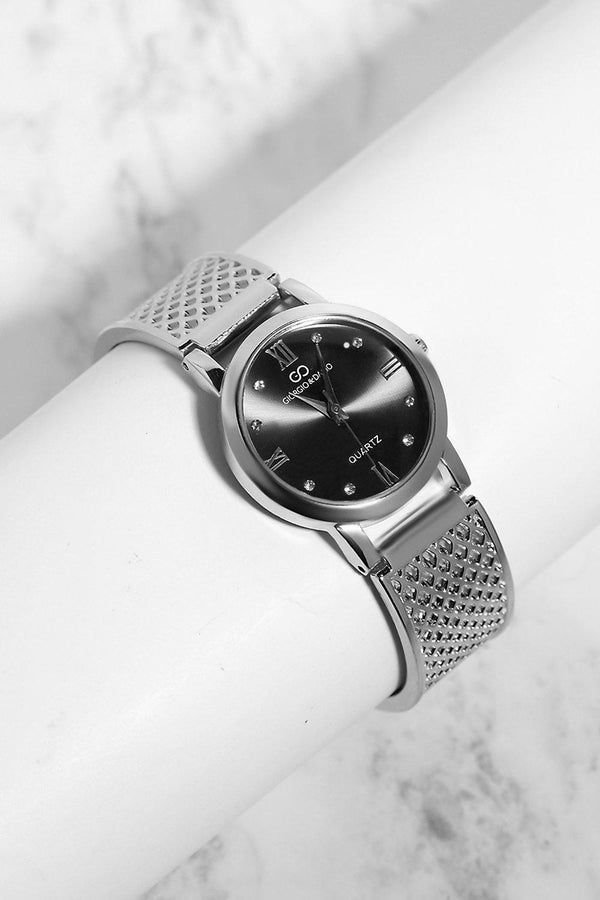 Silver Diamond Details Black Dial Perforated Strap Watch-SinglePrice