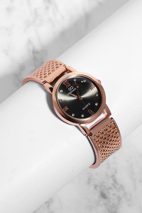 Rose Gold Diamond Details Black Dial Perforated Strap Watch-SinglePrice