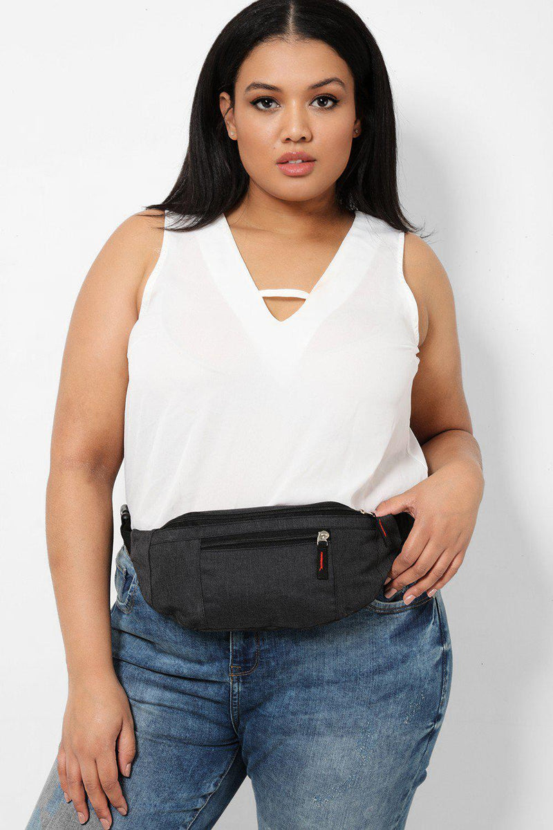 Black Old School Canvas Bumbag - SinglePrice