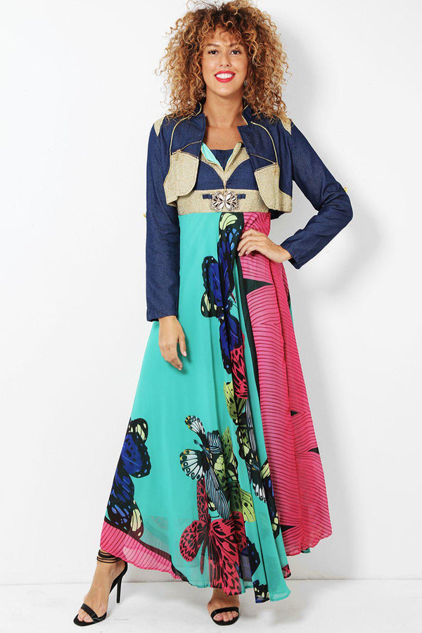 Green Butterflies Printed Maxi Dress With Bolero Jacket-SinglePrice
