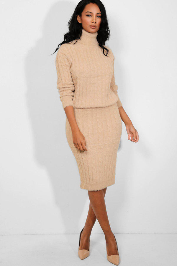 Beige Fluffy Cable Knit High Neck Pullover Skirt Set-SinglePrice