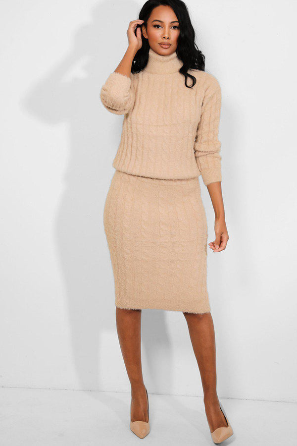 Beige Fluffy Cable Knit High Neck Pullover Skirt Set