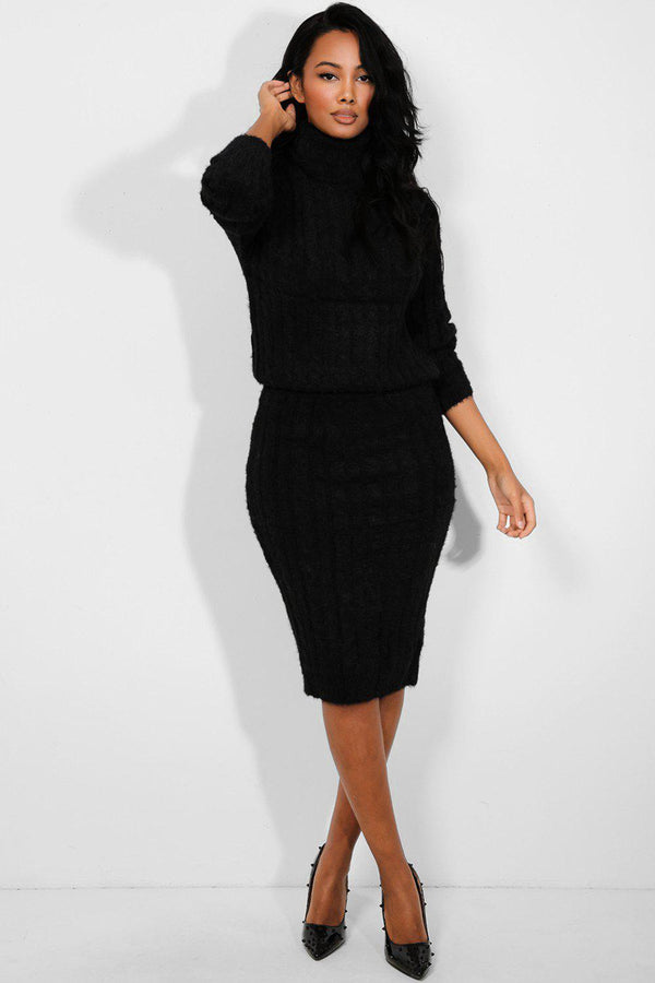 Black Fluffy Cable Knit High Neck Pullover Skirt Set