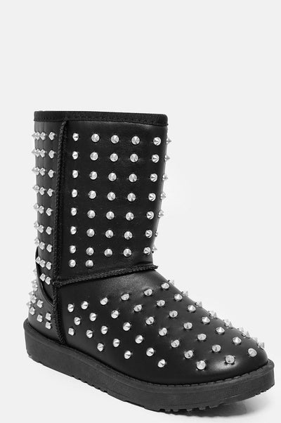 Faux Fur Lined Black Studded Warm Boots-SinglePrice