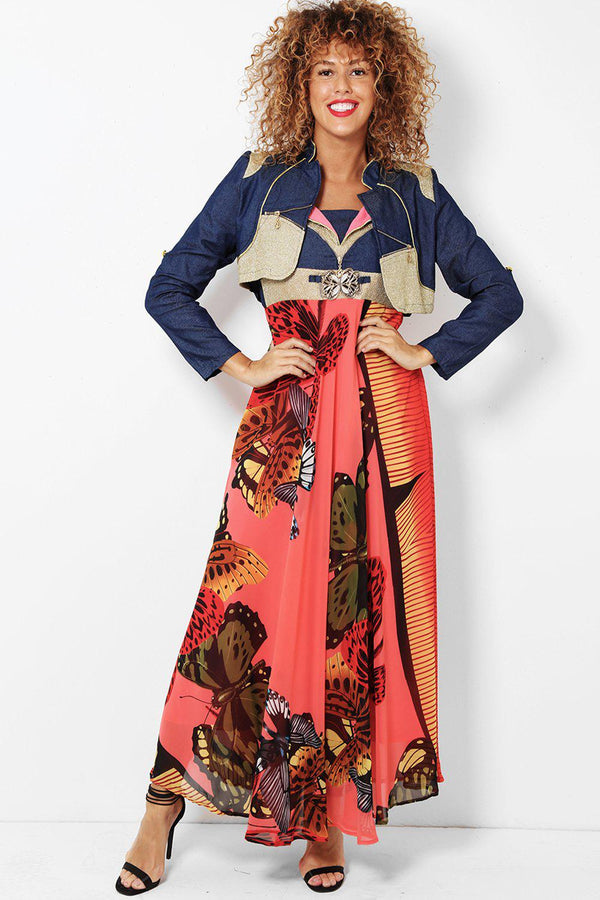 Coral Butterflies Printed Maxi Dress With Bolero Jacket-SinglePrice