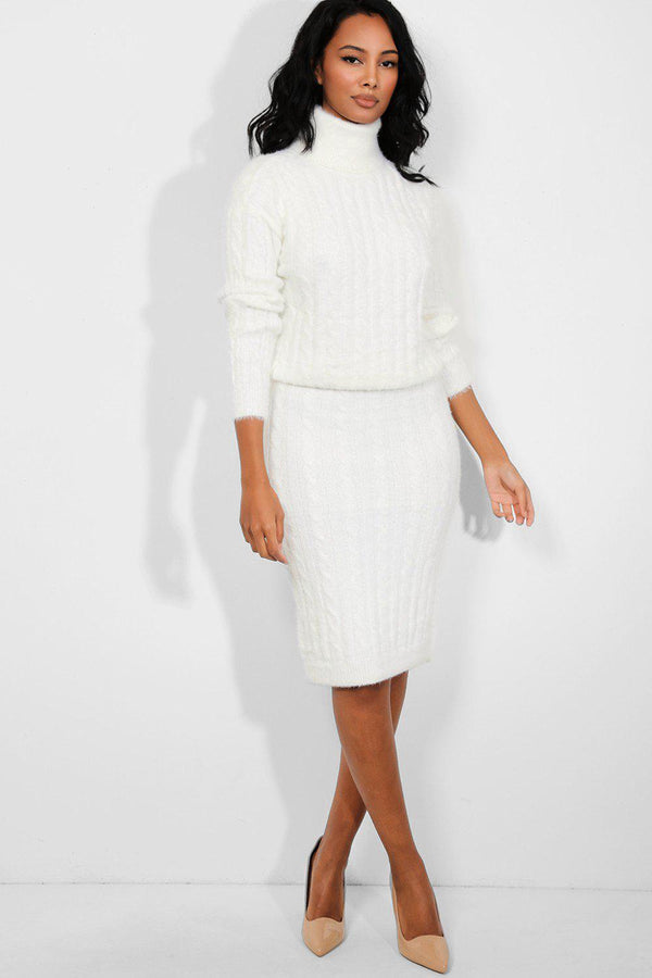 White Fluffy Cable Knit High Neck Pullover Skirt Set