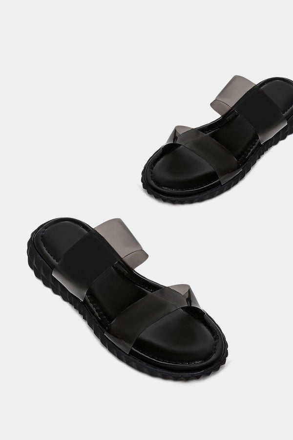 Black Perspex Twin Strap Pyramid Sole Sliders - SinglePrice