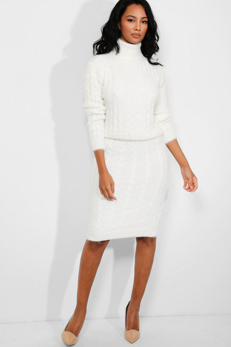 White Fluffy Cable Knit High Neck Pullover Skirt Set - SinglePrice