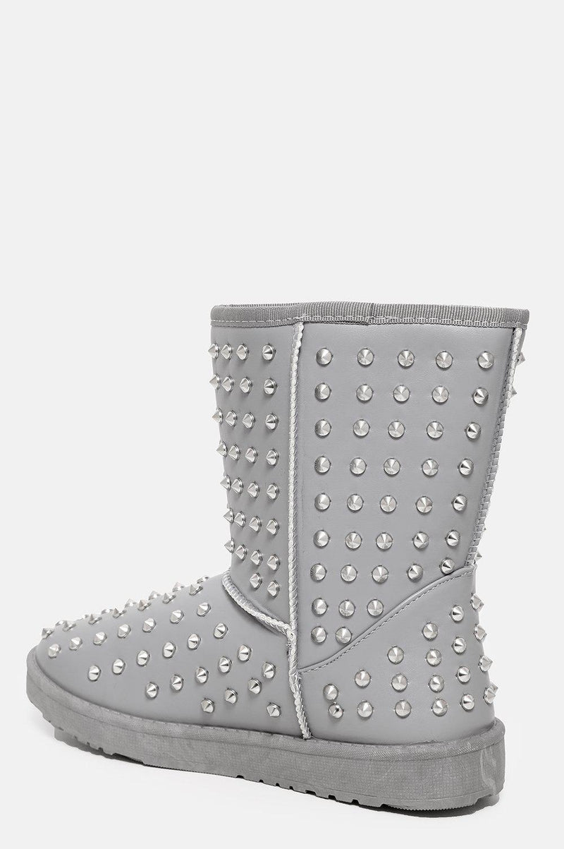 Faux Fur Lined Grey Studded Warm Boots - SinglePrice