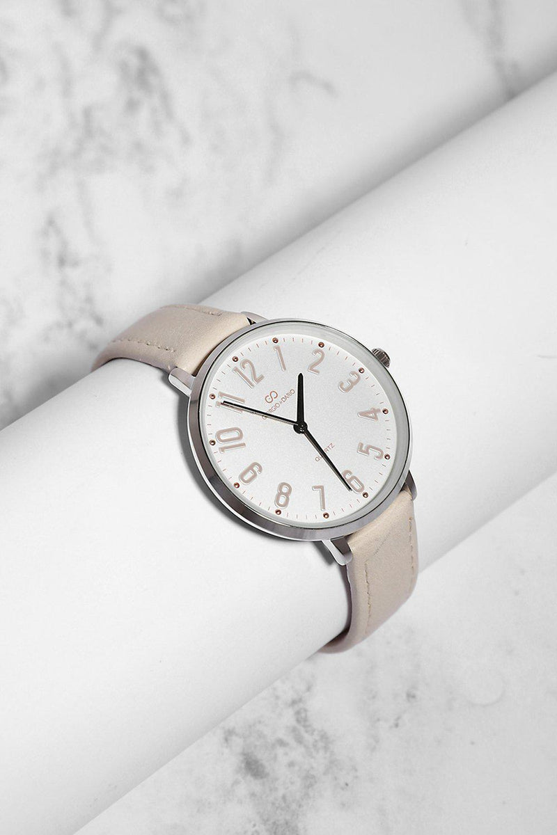Cream Vegan Leather Strap Watch - SinglePrice