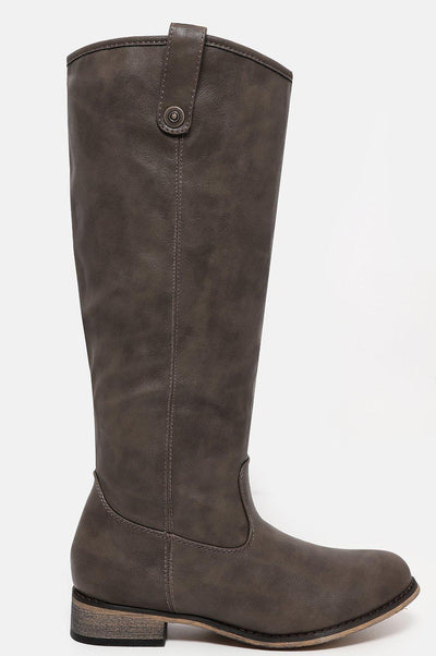 Grey Taupe Knee High Riding Boots-SinglePrice