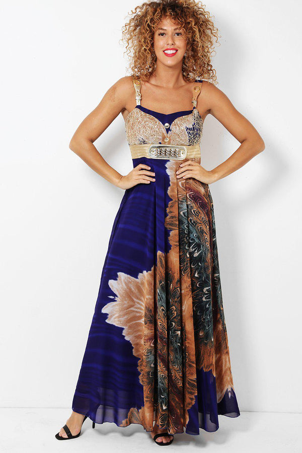 Blue Floral Sequined Mesh Bust Maxi Dress