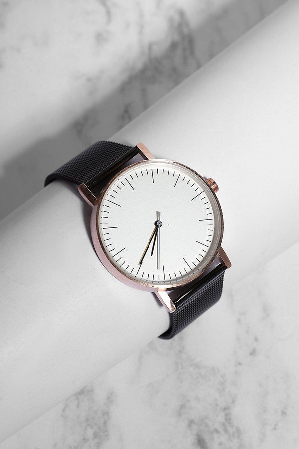 Black Mesh White Dial Rose Gold Details Chronometer Watch - SinglePrice