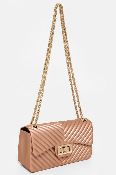 Pink Chevron Rubberised Mini Bag-SinglePrice