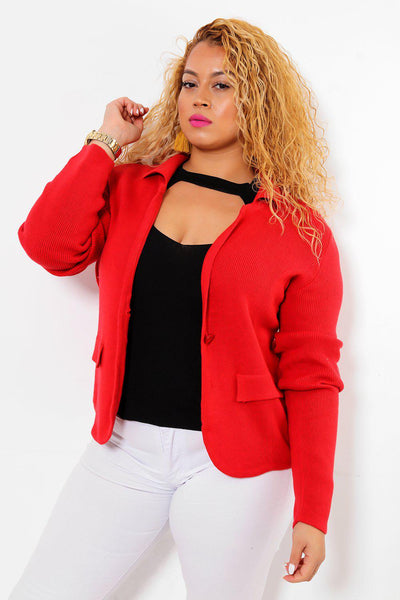 Single Button Red Knitted Blazer-SinglePrice