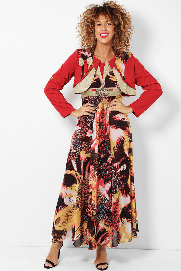 Red Lurex Trim Chiffon Maxi Dress With Bolero Jacket-SinglePrice