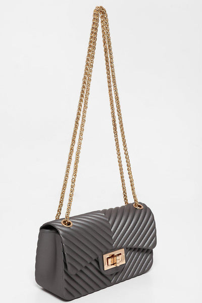 Grey Chevron Rubberised Mini Bag-SinglePrice