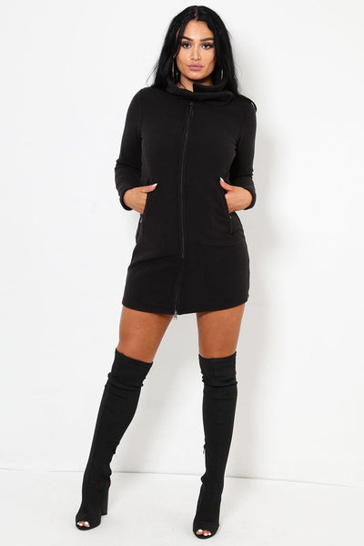 Soft Fleece Zipper Mini Dress-SinglePrice