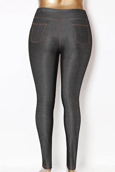 Metallic Finish Black Plus Size Jeggings-SinglePrice