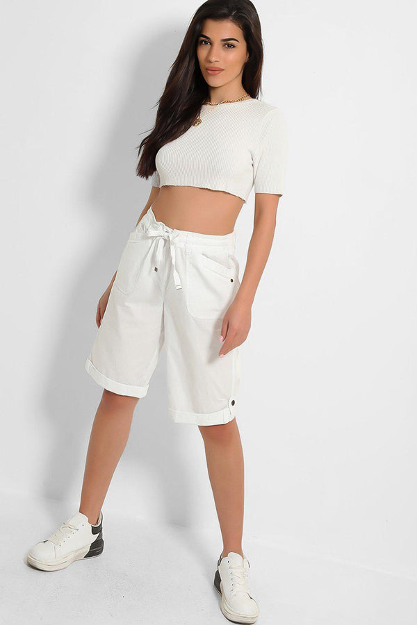 White Drawstring Waist Midi City Shorts-SinglePrice