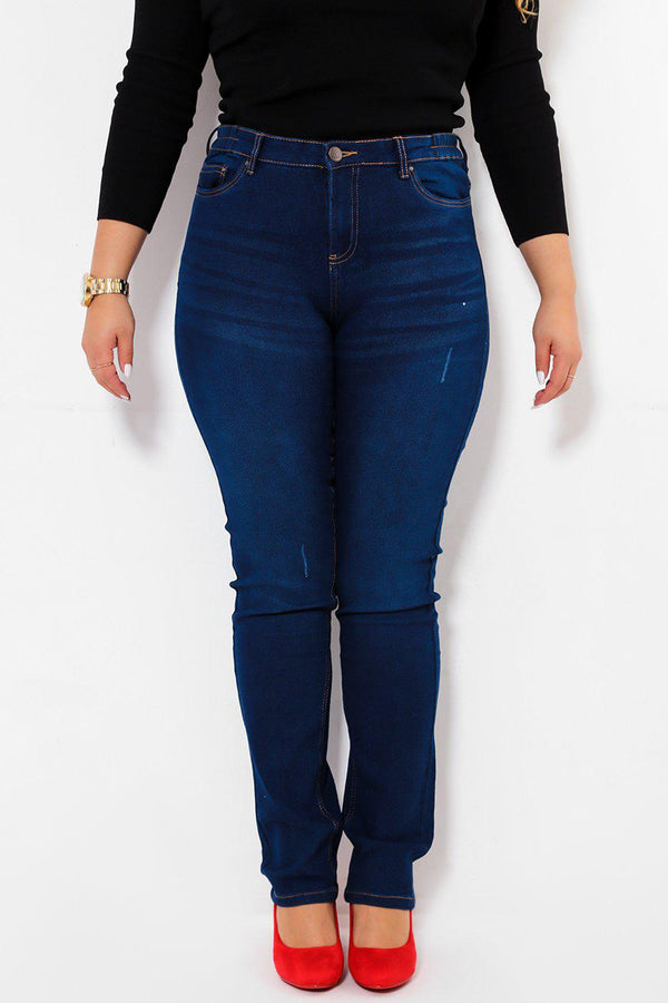 Straight Leg Distressed Dark Blue Jeans - SinglePrice