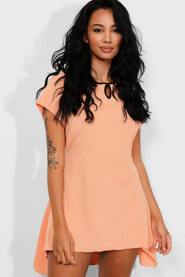Peach Contrast Cut Out Detail Embossed Dress - SinglePrice