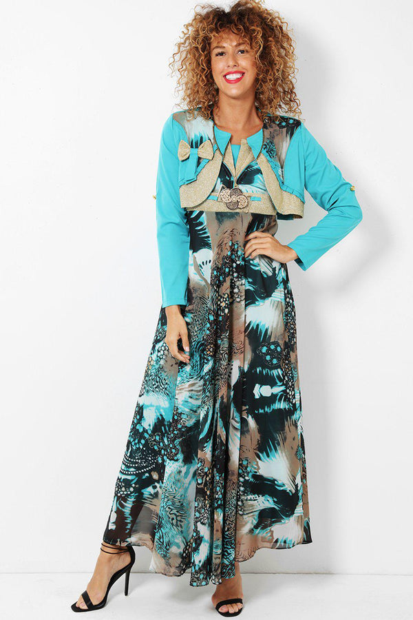 Green Lurex Trim Chiffon Maxi Dress With Bolero Jacket-SinglePrice