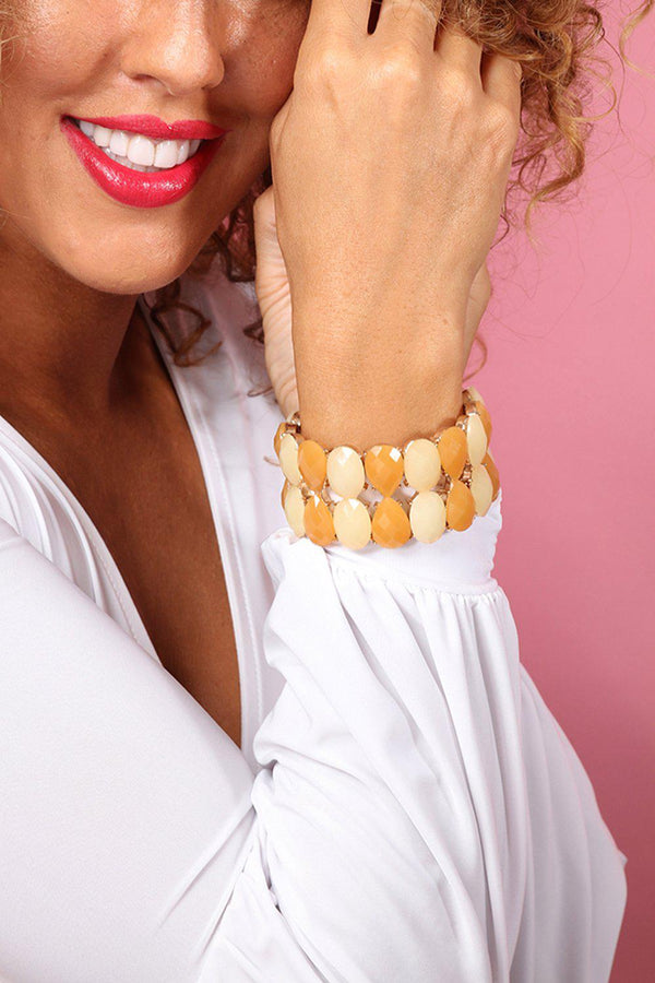 Gold Yellow Multi Faceted Twin Stretch Bracelet - SinglePrice
