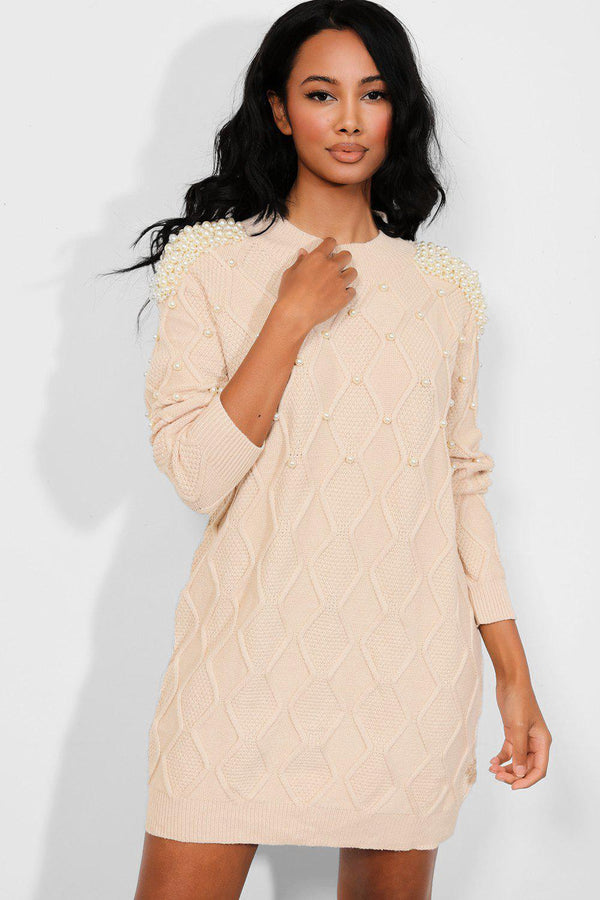 Beige Pearls Embellished Rhomb Knit Dress - SinglePrice