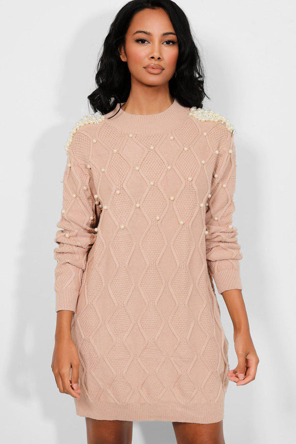 Camel Pearls Embellished Rhomb Knit Dress - SinglePrice