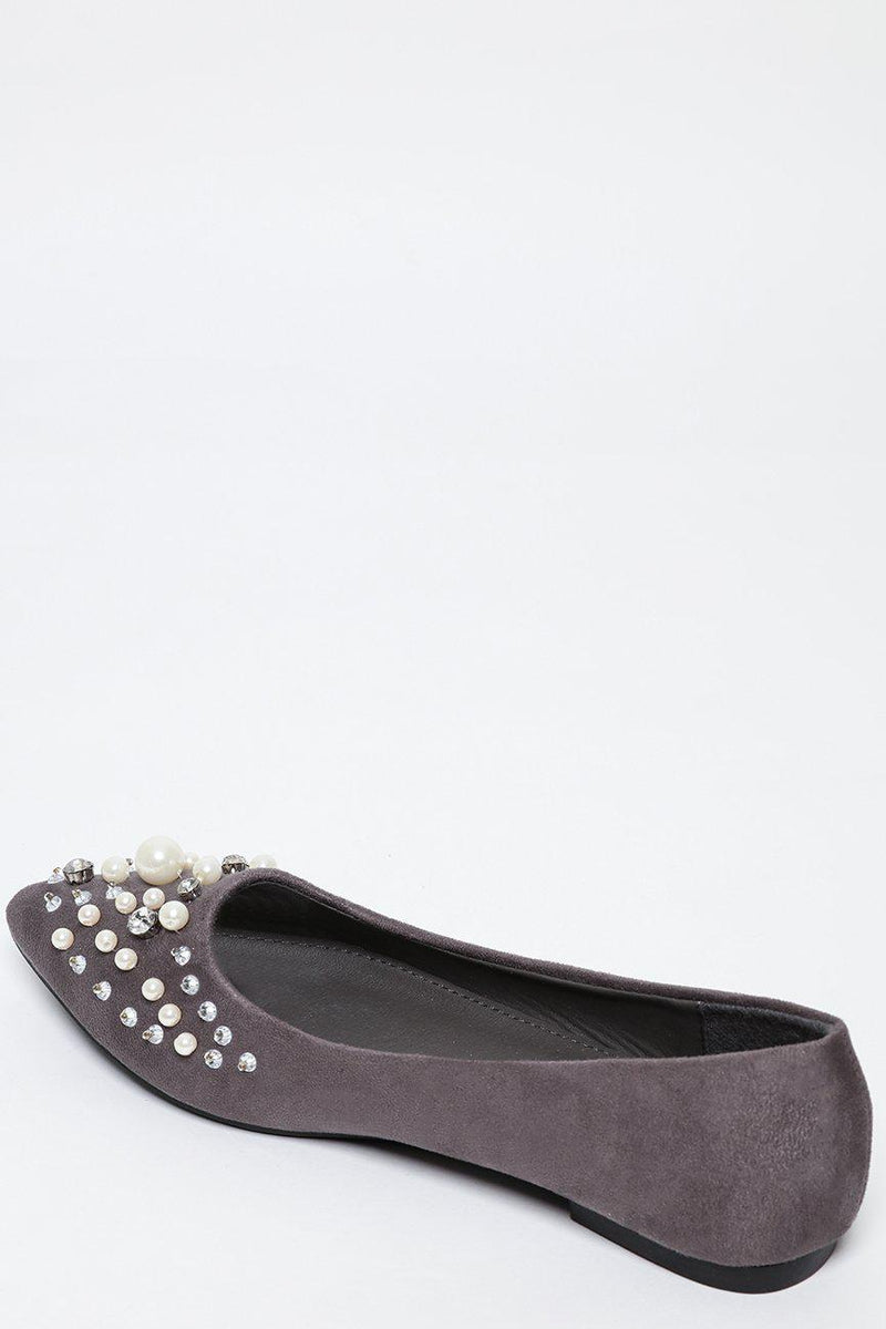 Pearls Embellished Pointy Grey Ballet Flats - SinglePrice