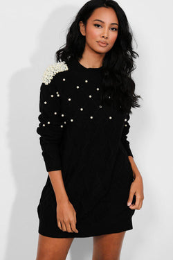 Black Pearls Embellished Rhomb Knit Dress - SinglePrice