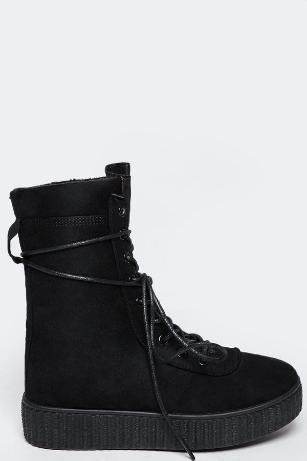 Laced Up Hi Top Flat Black Boots - SinglePrice