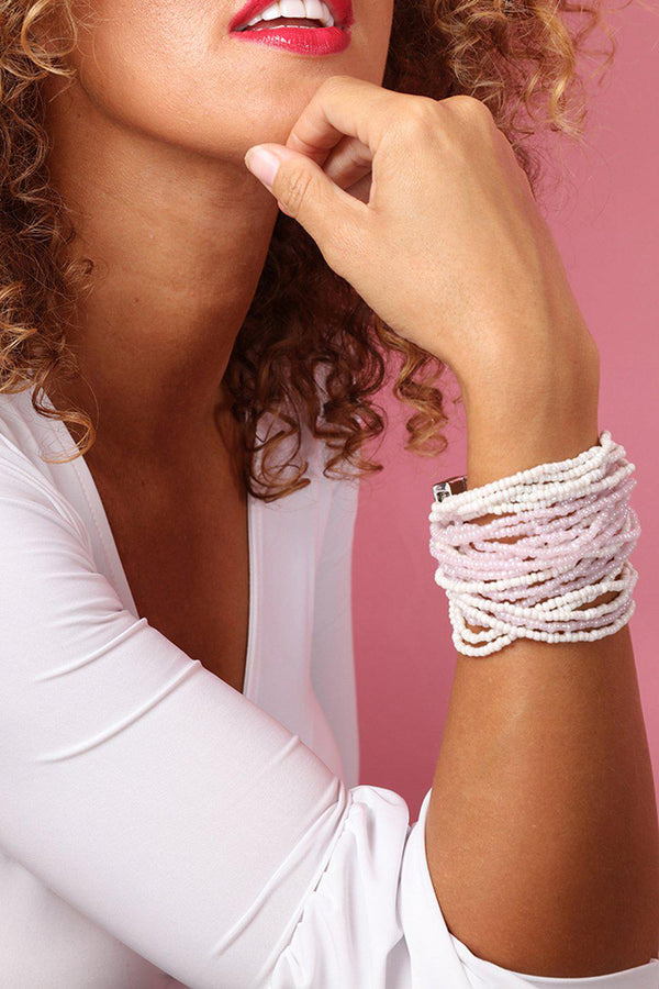 Pink White Beads Layers Magnetic Bracelet - SinglePrice