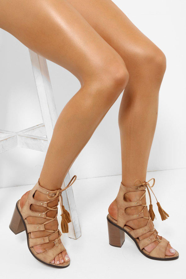 Camel Tassel Lace Up Cage Heels-SinglePrice