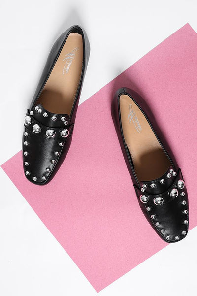 Round Metal Studs Black Loafers-SinglePrice