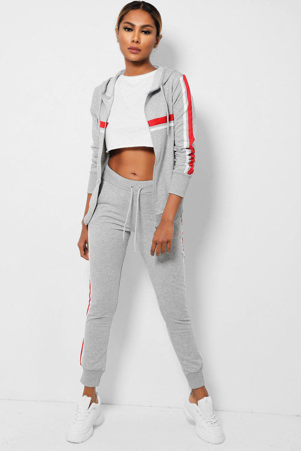 Twin Red Side Stripe Grey 2 Piece Tracksuit