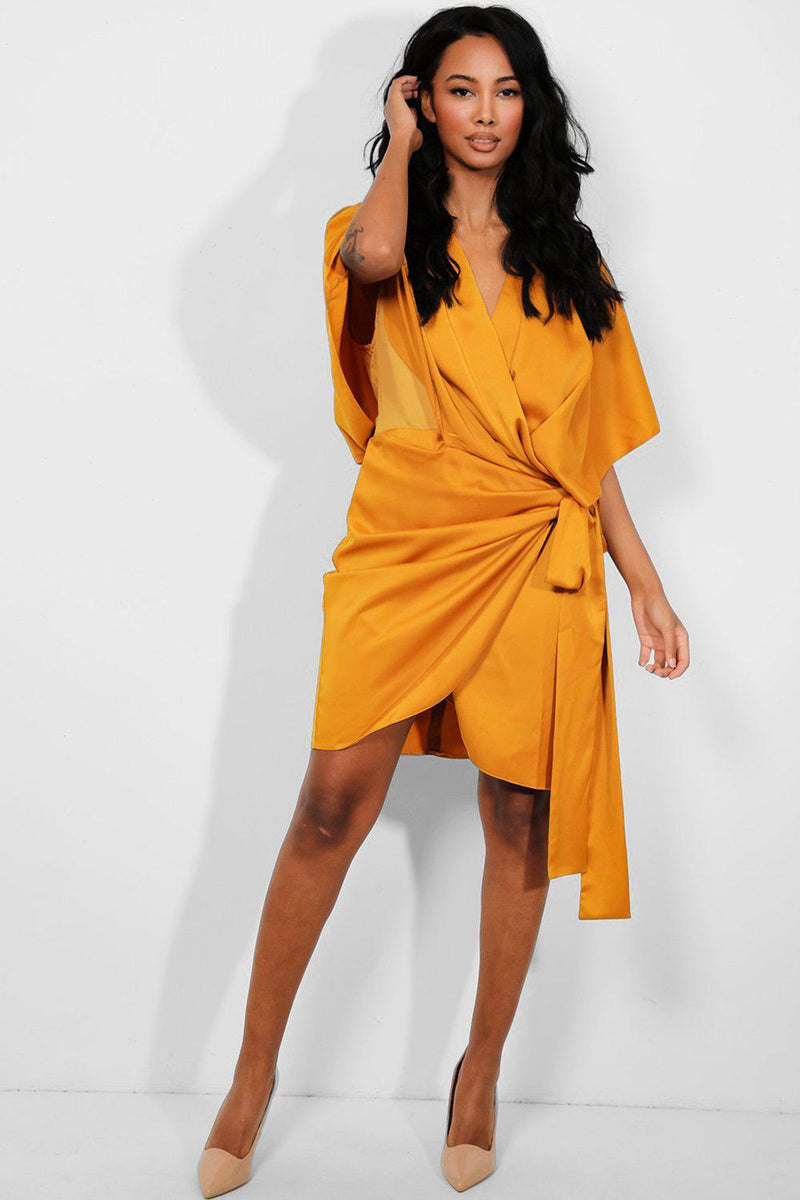 Mustard Faux Wrap Side Tie Satin Touch Dress - SinglePrice