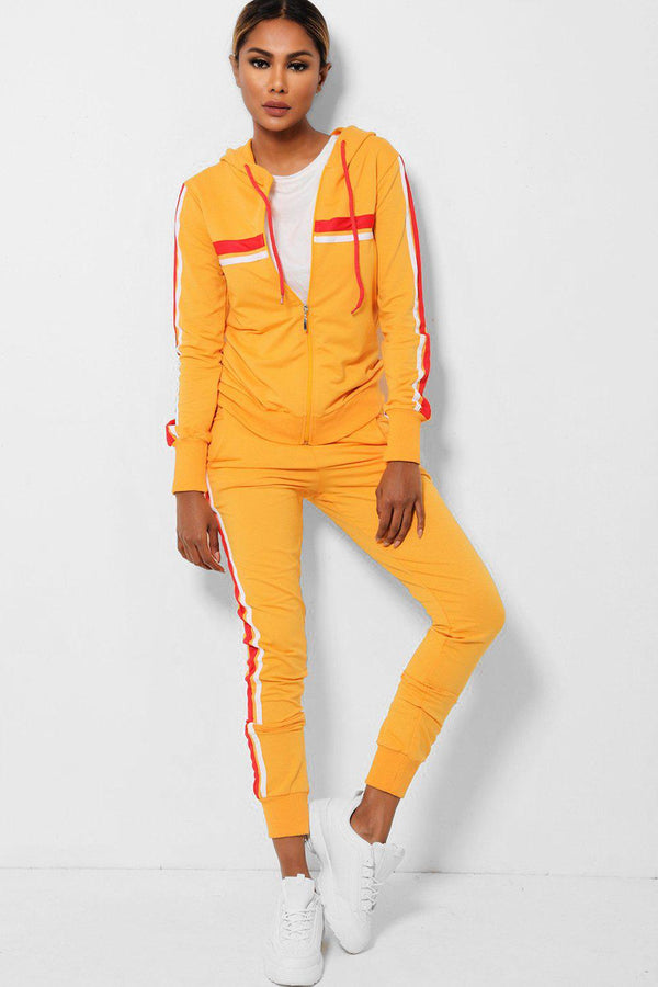 Twin Red Side Stripe Yellow 2 Piece Tracksuit