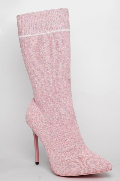 Silver Shimmer Pink Tall Sock Boots-SinglePrice
